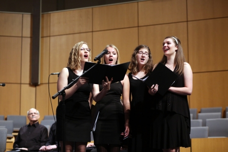 "The ladies of the ensemble sing in ""Naomi's Plan."""